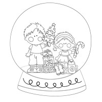 Brother Sister Black And White Snow Globe