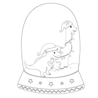 Dinosaurs Black And White Snow Globe
