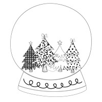 Four Trees Black And White Snow Globe