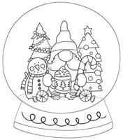 Gnome Happy Black And White Snow Globe