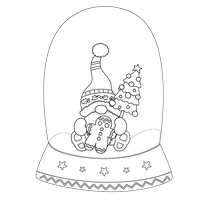 Gnome Black And White Snow Globe