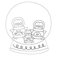 Penguin Family Black And White Snow Globe