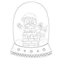 Santa Chimney Black And White Snow Globe