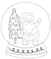 Santa Trees Black And White Snow Globe