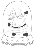Santa Black And White Snow Globe