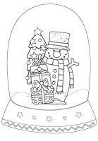 Snowman Happy Black And White Snow Globe