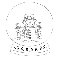 Stocking Snowman Black And White Snow Globe