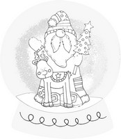 Woodland Santa Black And White Snow Globe