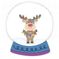 Reindeer Lights Snow Globe