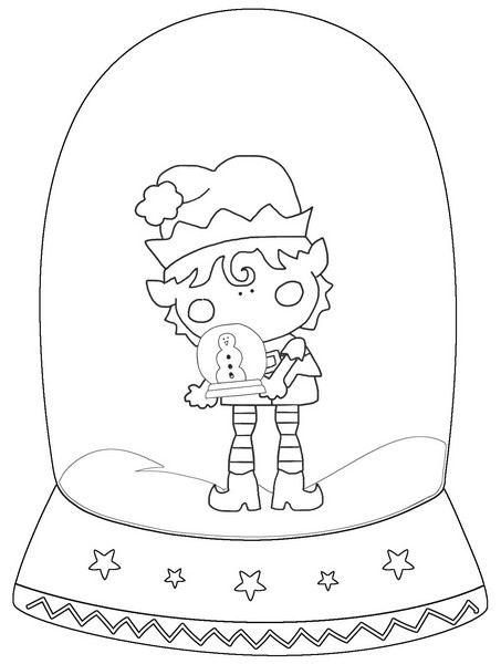 elf Black And White Snow Globe