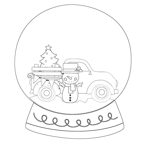 Truck Snowman Black And White Snow Globe