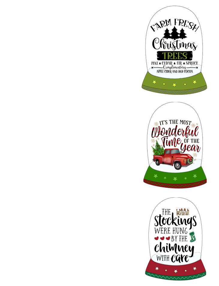 Snow Globes: Small JPG to Use as Christmas Hang Tags, Labels
