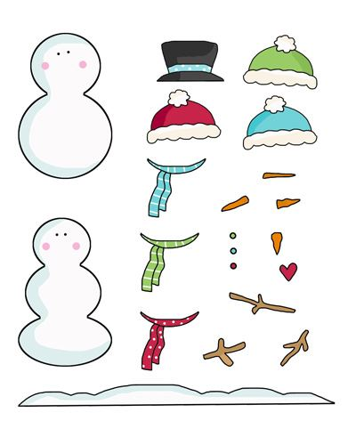 4 Sets Of Snowmen To Build