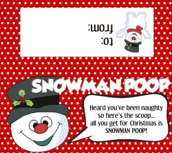 Snowman Poop Poems, Labels, Bag Tops