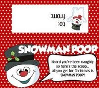 Snowman Poop Bag Label