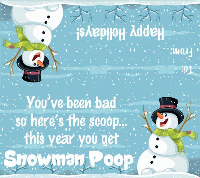 Snowman Poop Printable Tag With Graphics Gag Gift