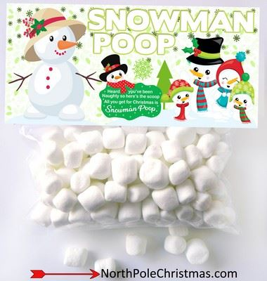 Snowman Poop Label Free Printable Bag Topper Gift