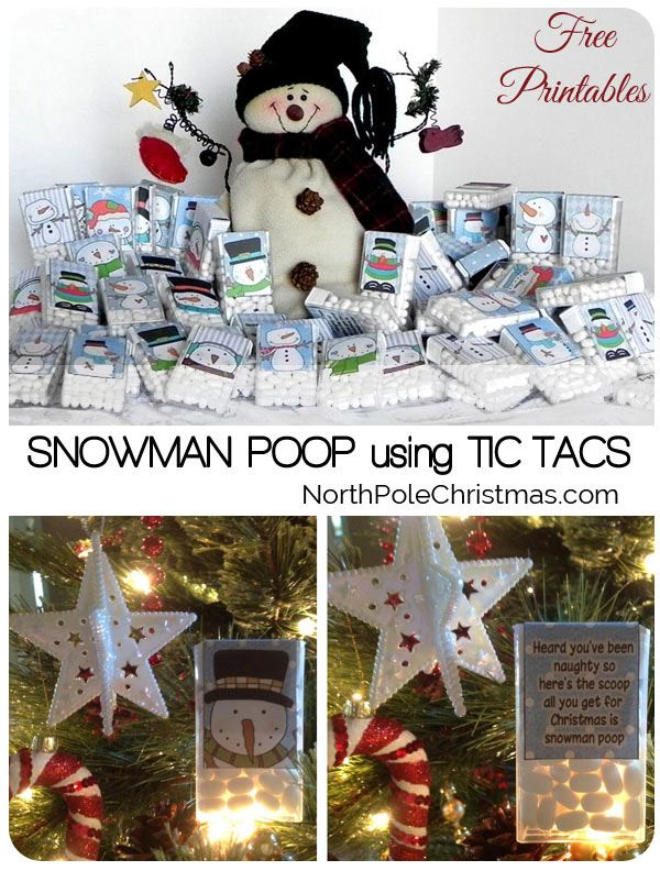 10 Free Snowman Poop Saying Printables at NorthPoleChristmas.com - Tic Tac Labels or Bag Toppers