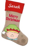 Elf Stocking Pattern with Graphics / Clip Art