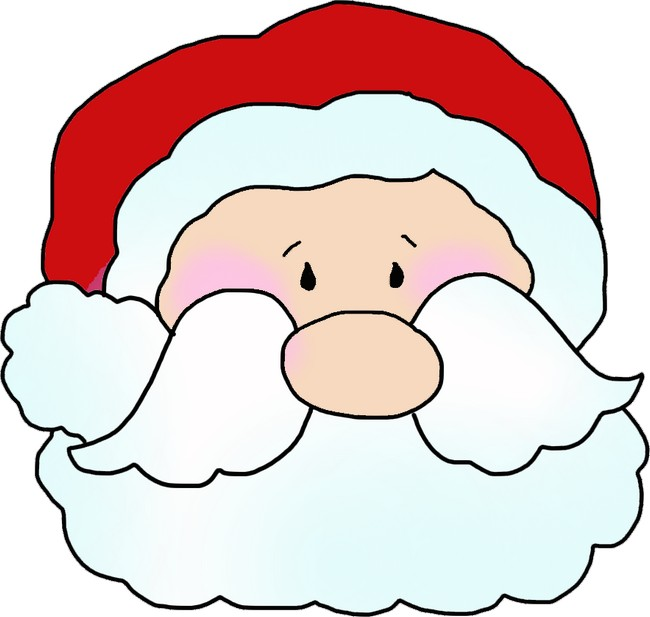 Santa Claus Face Clip Art - Joyful Santa Face Template