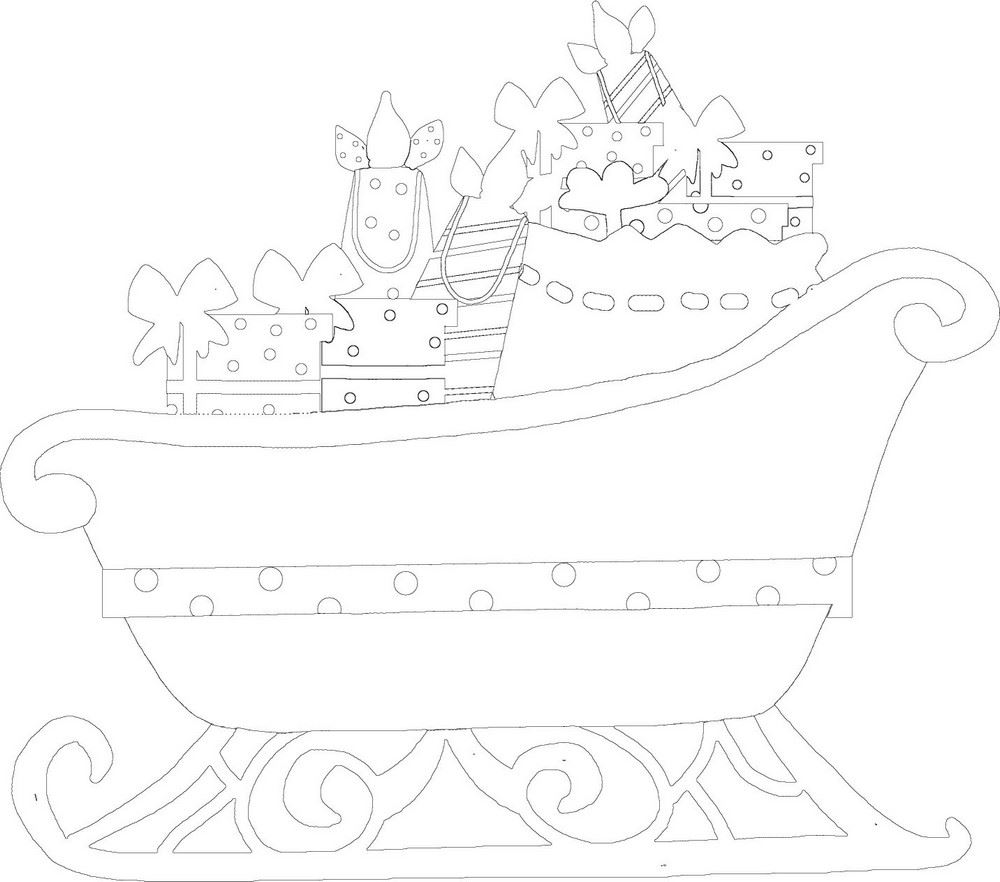 Santa Sleigh Black & White Clipart: Outline, Line Art Format
