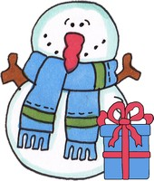 Snowman with Gift
