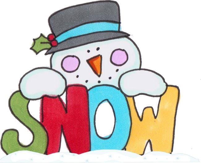 Popular Snowman Clip Art Holding a Sign Saying SNOW