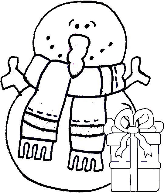 Clipart Snowman Outline with Christmas Gift: Black & White