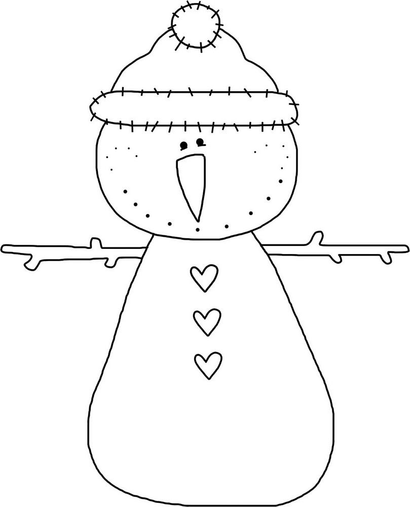 Winter Snowman Outline - Cute Snowman Template, Clipart