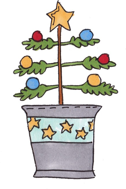 Christmas Tree Clipart: A Charlie Brown Tree in a Tin Pail