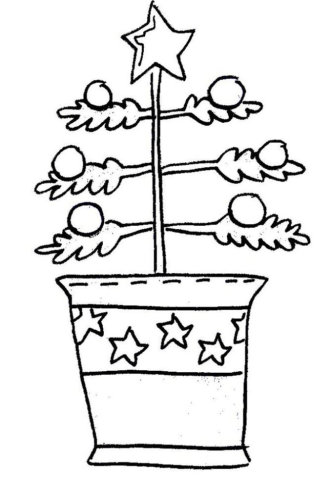 Christmas Tree Clip Art: Black & White, Sparse Tree in Pail