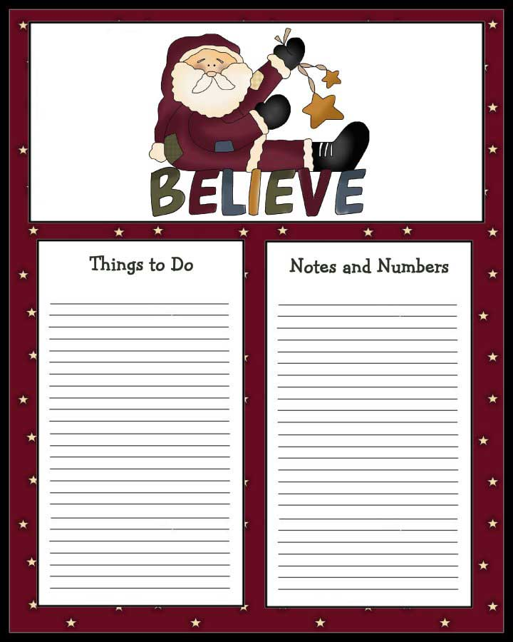 To Do List with Santa - Free To Do List with Stars