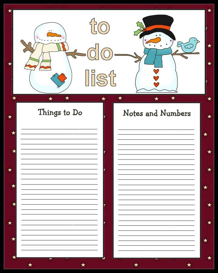 2 cute snowmen to do list to print christmas