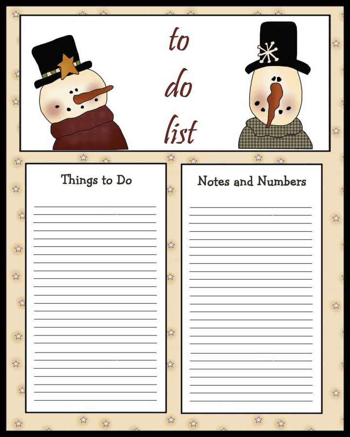 Snowmen To Do List - 2 Primitive Snowmen with Things to Do